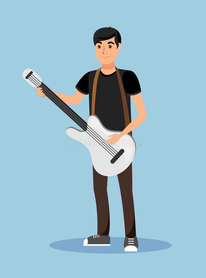 Het Karakter van Playing Guitar Cartoon van de straatmusicus stock illustratie