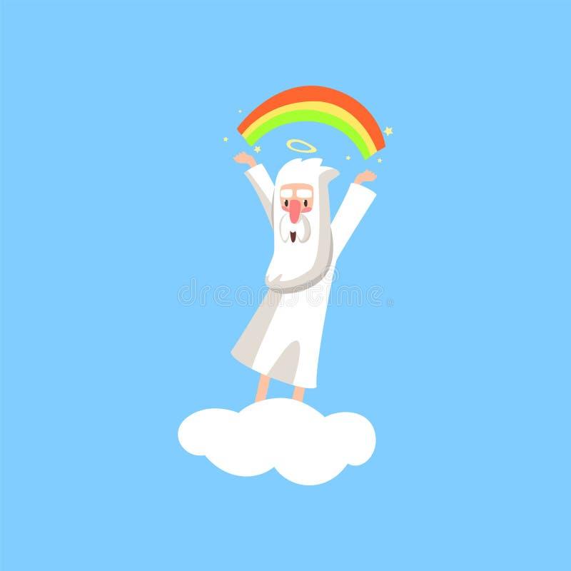 Het karakter van het schepperbeeldverhaal in actie betreffende witte wolk Glimlachende god die een regenboog creëren Godsdienstig royalty-vrije illustratie