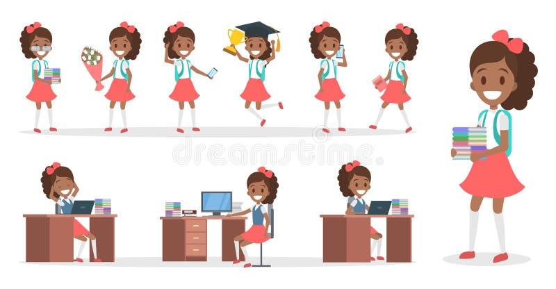 Het karakter van het schooljonge geitje - voor animatie wordt geplaatst die stock illustratie