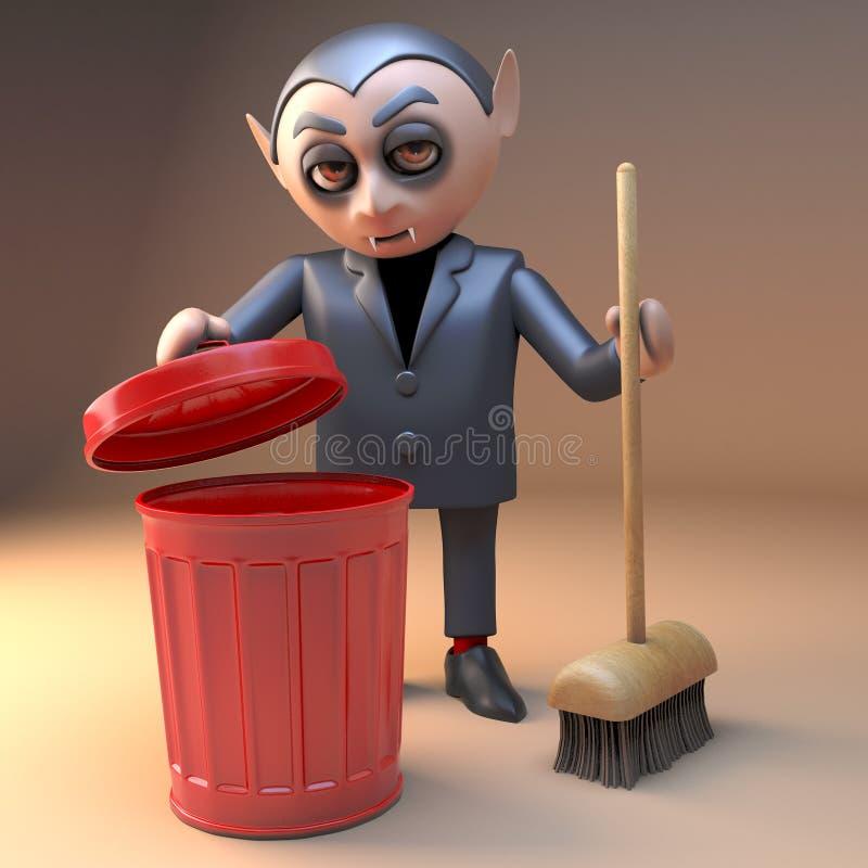 Het karakter van vampierdracula met hoektanden maakt met een bezem en een rode vuilnisbak schoon, 3d illustratie stock illustratie