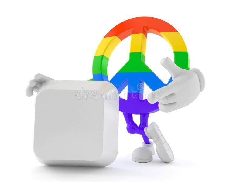 Het karakter van het vredessymbool met lege computersleutel vector illustratie