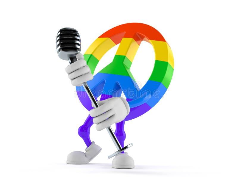 Het karakter van het vredessymbool het zingen in microfoon stock illustratie