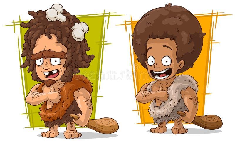 Het karakter vectorreeks van de beeldverhaal voorhistorische mens royalty-vrije illustratie