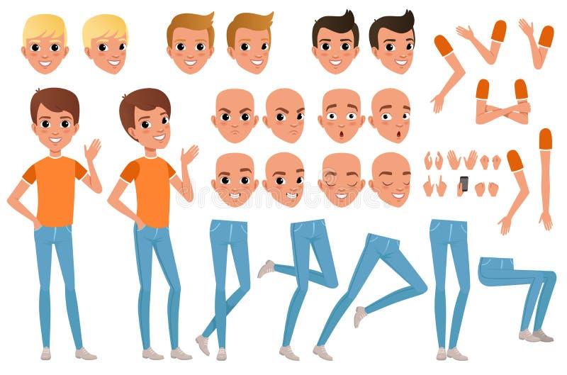 Het karakteraannemer van de tienerjongen Reeks diverse mannelijke emotiegezichten, kapsels, handen, gebaren en benen Vlak Ontwerp vector illustratie