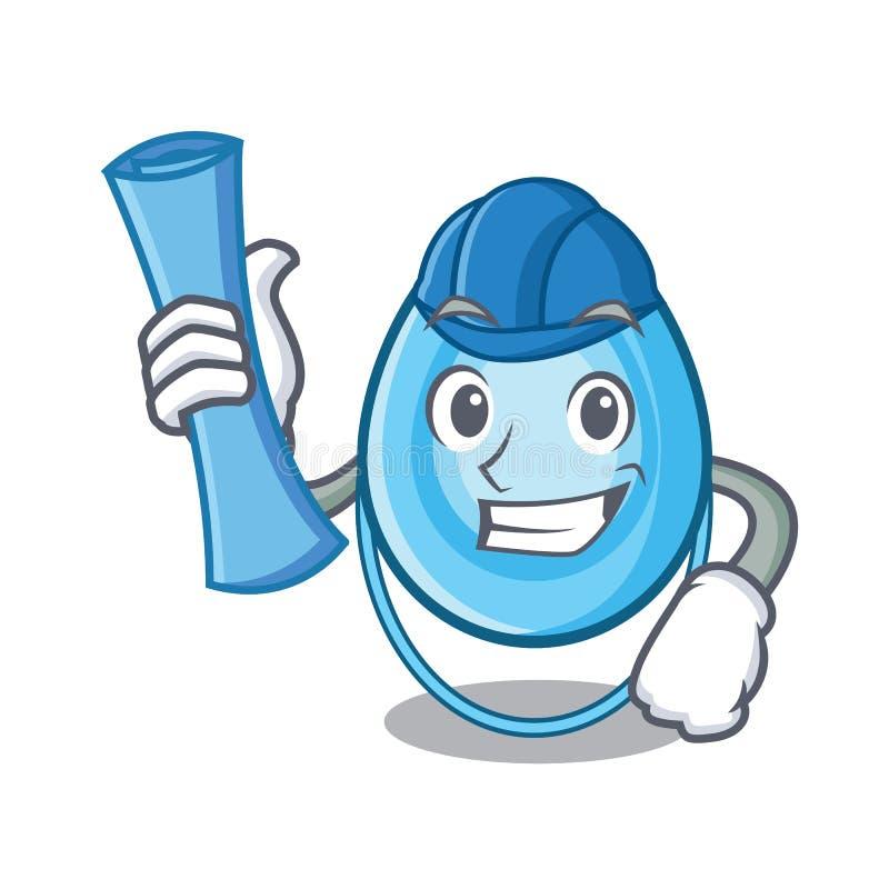 Het karakterbeeldverhaal van het architectenzuurstofmasker stock illustratie
