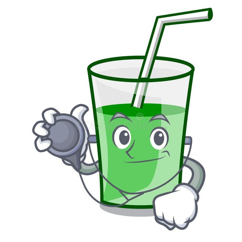 Het karakterbeeldverhaal van artsen groen smoothie stock illustratie