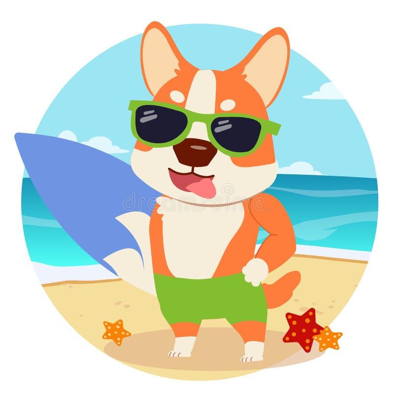 Het karakterbeeldverhaal van corgihond de zomerthema in de leuke vlakke vector vector illustratie