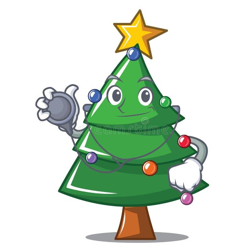 Het karakterbeeldverhaal van de artsenkerstboom stock illustratie