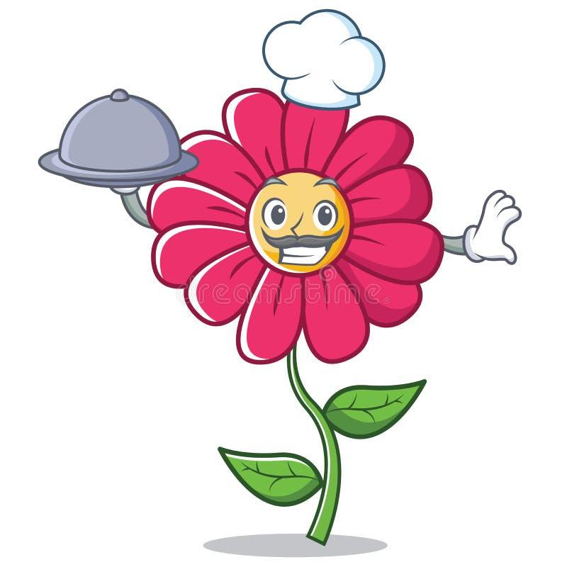 Het karakterbeeldverhaal van de chef-kok roze bloem royalty-vrije illustratie
