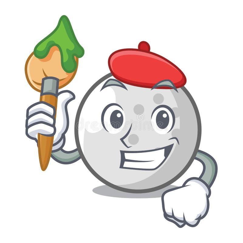 Het karakterbeeldverhaal van de kunstenaarsgolfbal vector illustratie