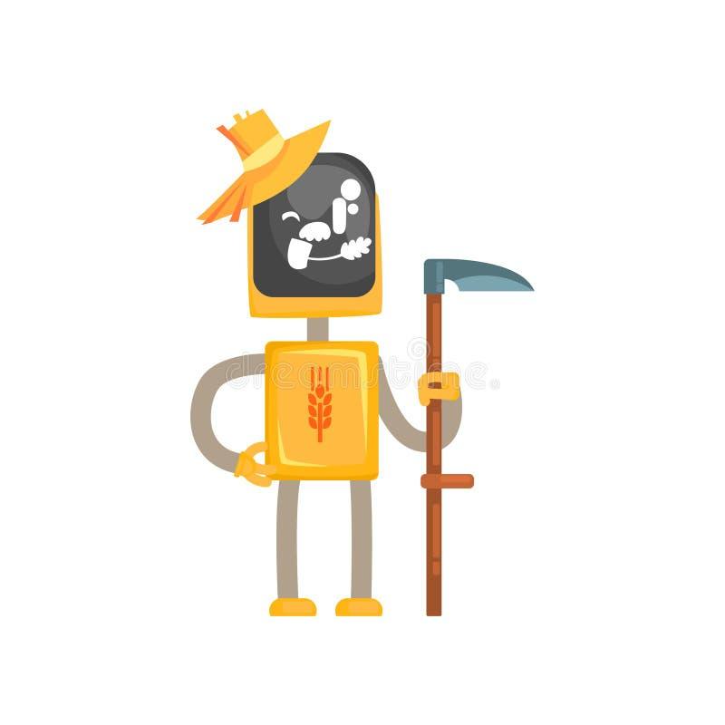 Het karakterbeeldverhaal van de robotmaaimachine, androïde landbouwer die zich met zeis in zijn handen vectorillustratie bevinden vector illustratie