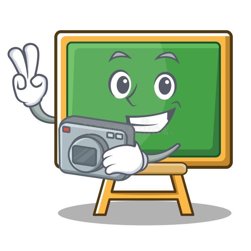 Het karakterbeeldverhaal van het fotografieschoolbord vector illustratie