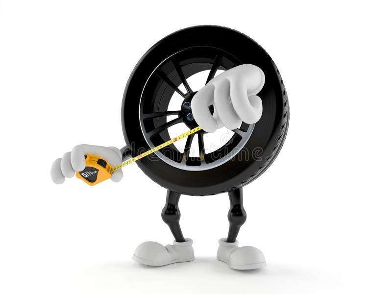 Het karakterholding die van het autowiel band meten vector illustratie