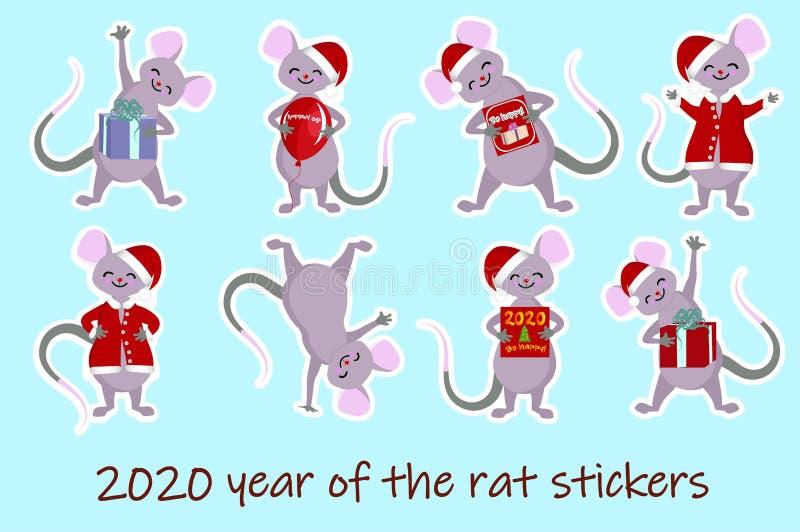 Het karakterjaar van de muis leuk baby van het muisjaar van het dierlijke huisdier van de ratten Chinese dierenriem stock illustratie