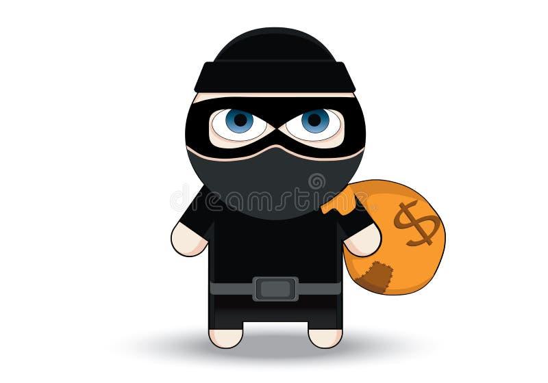 Het karakterontwerp van diefFlat Bandiet met grote zak Rover in masker De vectorillustratie van het beeldverhaal Dief in masker h vector illustratie