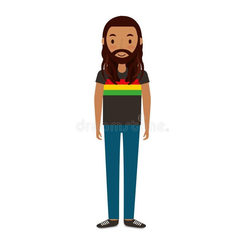 het karakterpictogram van de reggaemens royalty-vrije illustratie