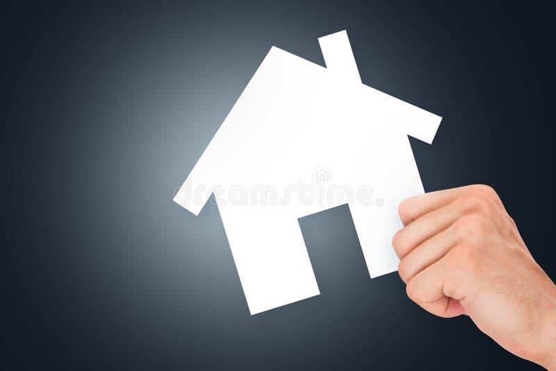 Het Karton Van Real Estate Van De Handholding Royalty-vrije Stock Foto