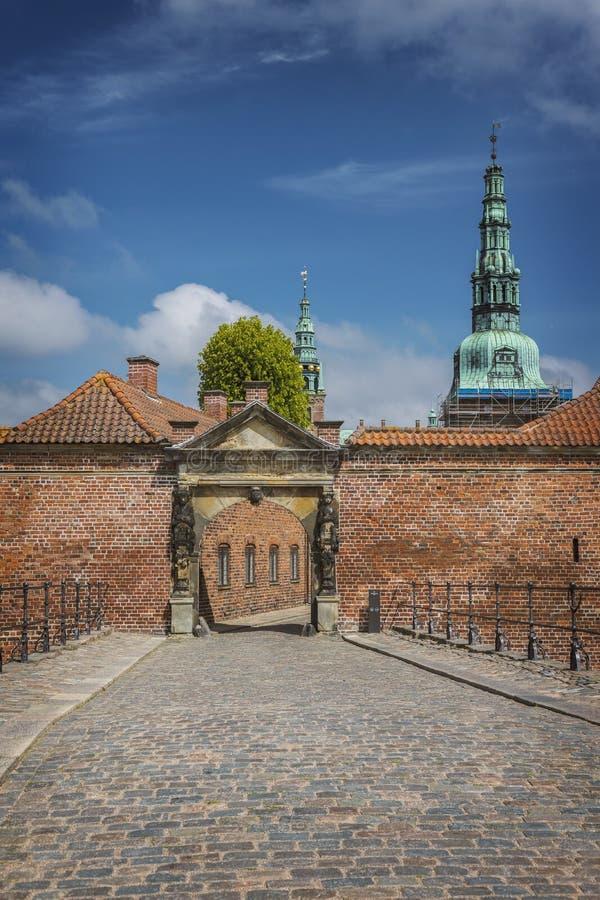 Het kasteel Hillerod van Frederiksborg stock foto's