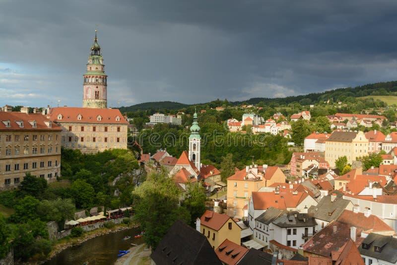 Het kasteel historisch centrum van Ceskykrumlov stock fotografie