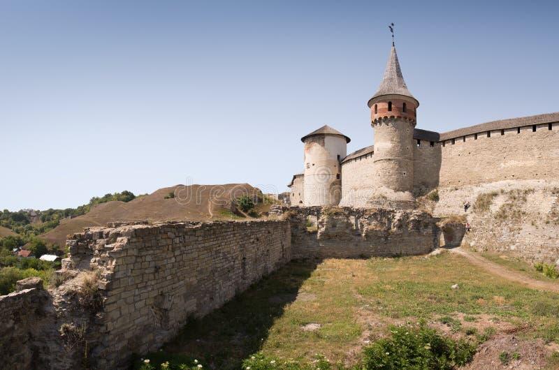 Het kasteel Kamenetz-Podolsk, de Oekraïne stock afbeelding