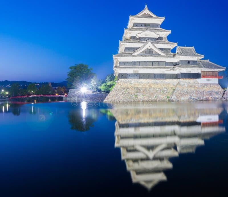 Het kasteel Matsumoto-PB historisch oriëntatiepunt van Matsumoto bij nacht met stock fotografie