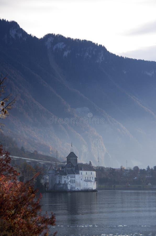 Het kasteel Montreaux Zwitserland van Chillon stock afbeelding