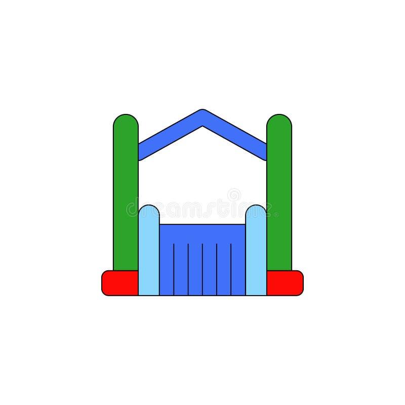 Het kasteel opblaasbaar stuk speelgoed gekleurd pictogram van beeldverhaalbouncy De tekens en de symbolen kunnen voor Web, emblee stock illustratie