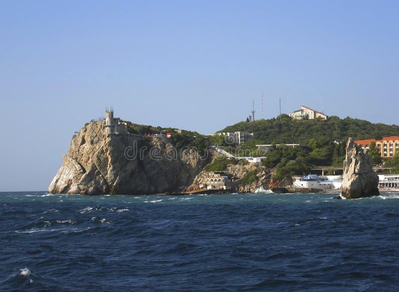Het kasteel slikte nest, de Krim, de Zwarte Zee, de Oekraïne royalty-vrije stock foto