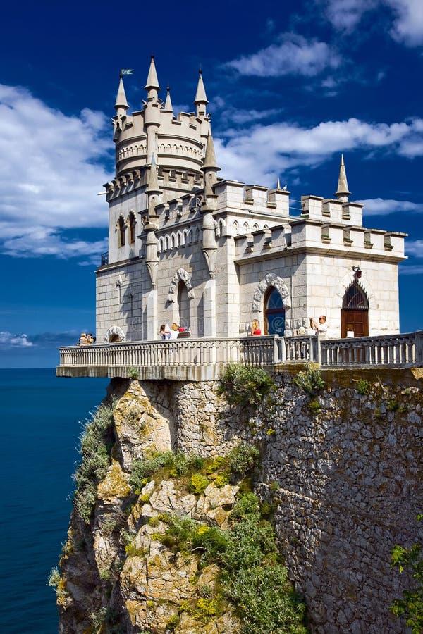 Het kasteel slikte Nest dichtbij Yalta in de Krim stock afbeeldingen