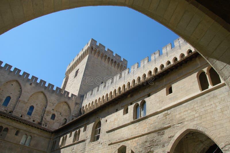 Het Kasteel van Avignon, (de Provence), Frankrijk stock afbeelding