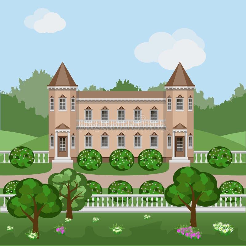 Het kasteel van het beeldverhaalsprookje in de zomerlandschap vector illustratie