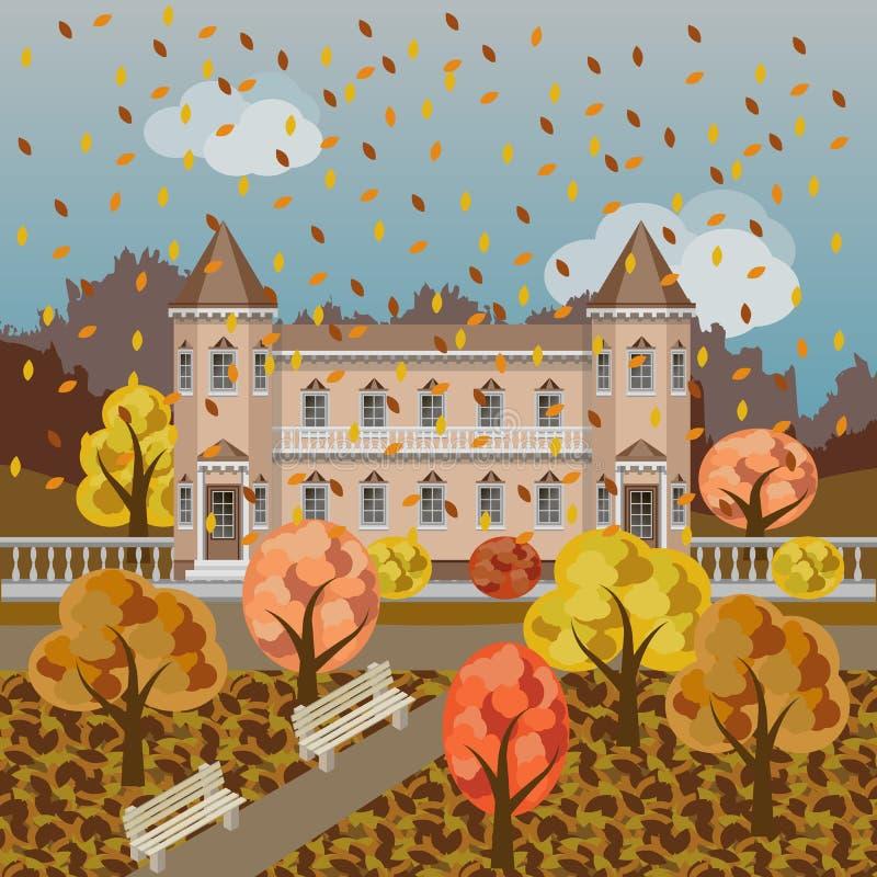 Het kasteel van het beeldverhaalsprookje of rijke manor in de herfstlandschap royalty-vrije illustratie