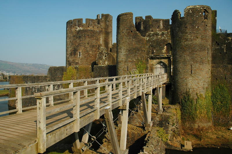 Het kasteel van Caerphilly stock foto's