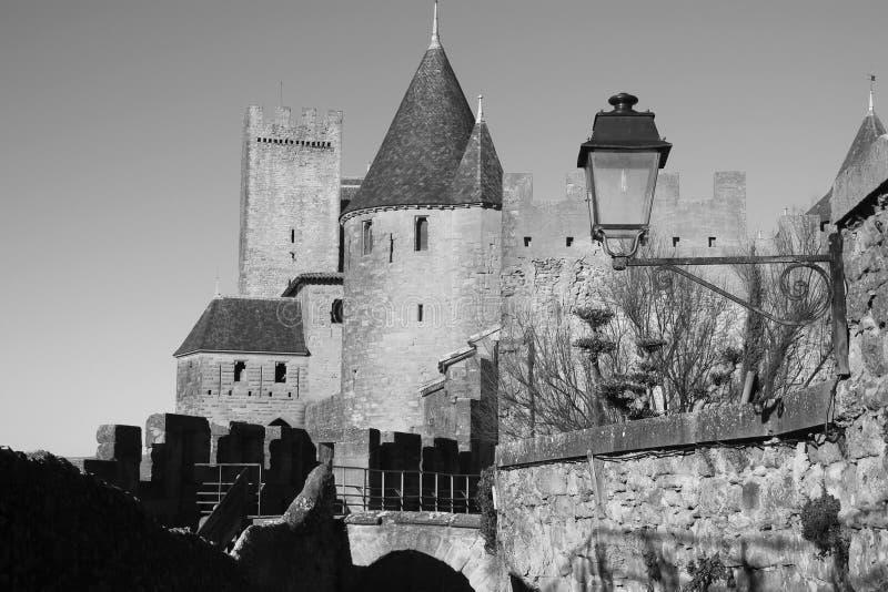 Het kasteel van Carcassonne stock afbeeldingen