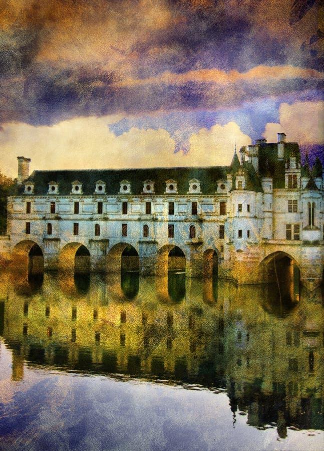 Het kasteel van Chenonseau stock illustratie