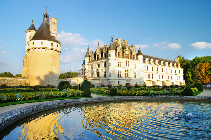 Het kasteel van Chenonseau - de vallei van de Loire stock afbeelding