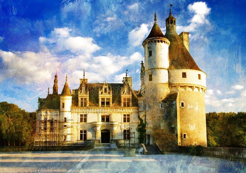Het kasteel van Chenonseau - het schilderen stijl vector illustratie