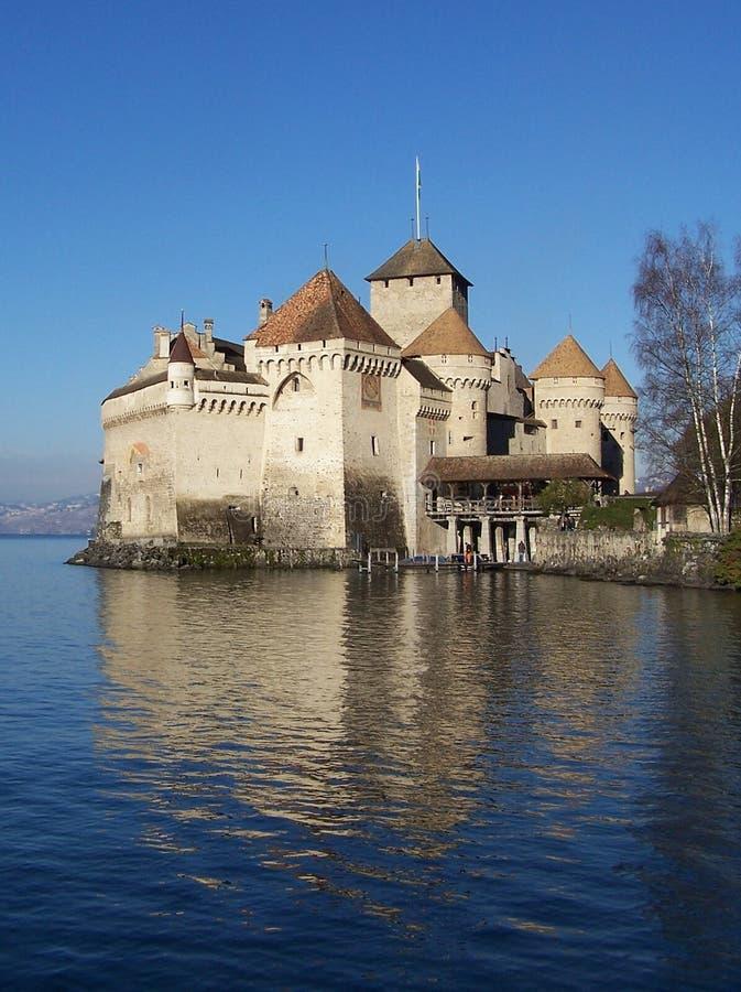 Het Kasteel van Chillon, het Meer van Genève, Zwitserland royalty-vrije stock foto