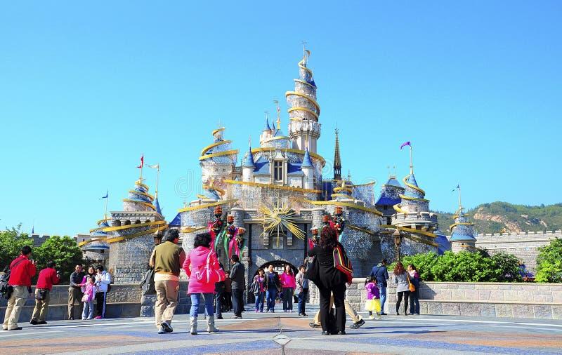 Het kasteel van Cinderella in disneyland Hongkong stock fotografie