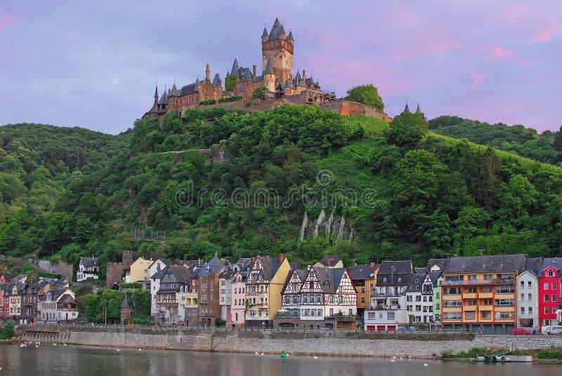 Het Kasteel van Cochem, de Rivier van Moezel, Duitsland stock fotografie