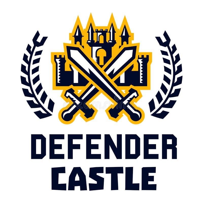 Het kasteel van de embleemverdediger Vesting, toren, dwarszwaarden Cijfer door een kroon wordt omringd die Vector illustratie Vla royalty-vrije illustratie