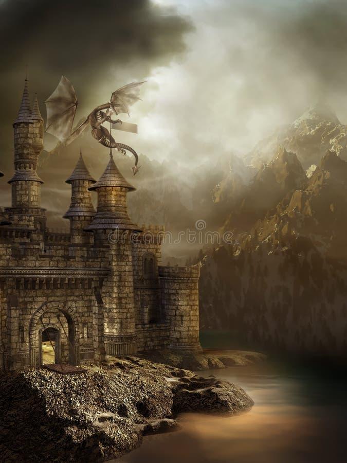 Het kasteel van de fantasie met een draak royalty-vrije illustratie