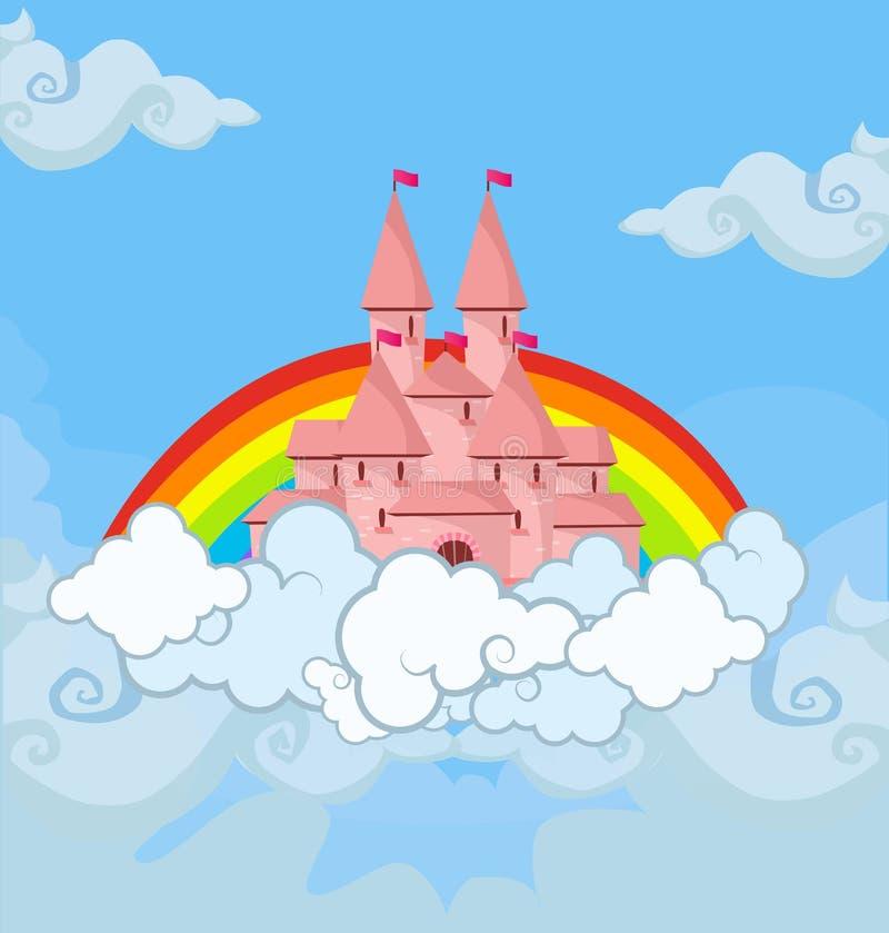 Het kasteel van de fantasieprinses in bewolkte hemel met regenboog vector illustratie