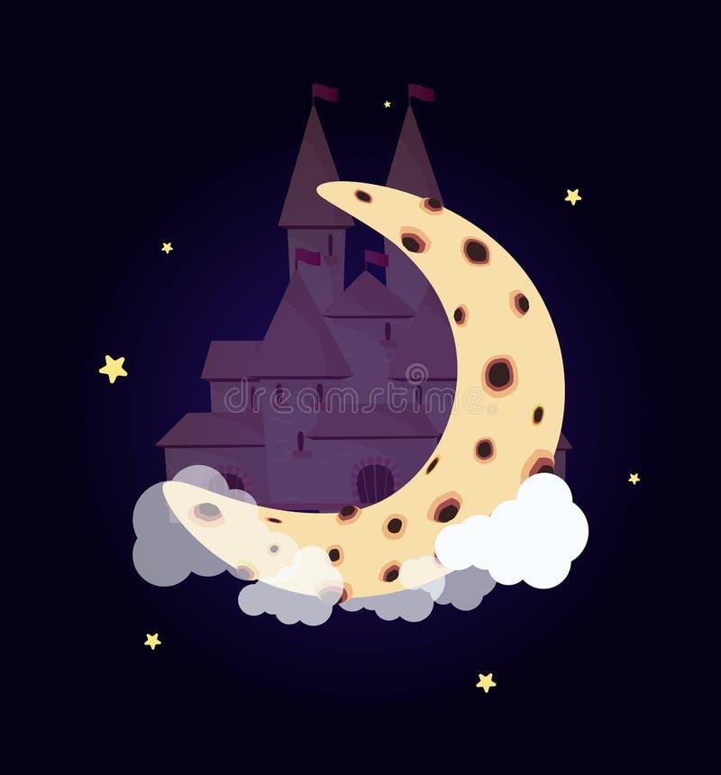 Het kasteel van de fantasieprinses op de sterrige hemel van de maannacht stock illustratie