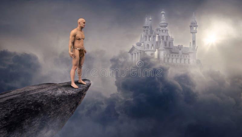 Het Kasteel van de fantasiescience fiction, Klip, Wolken stock afbeeldingen