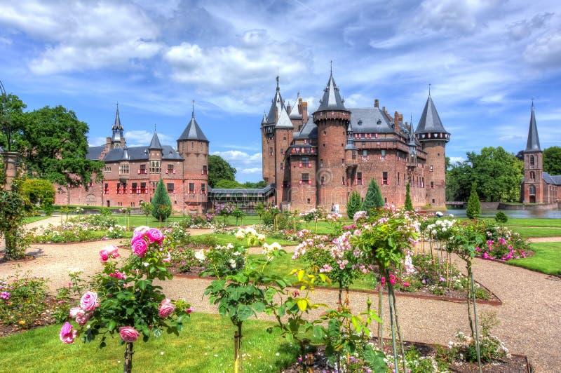 Het kasteel van DE Haar dichtbij Utrecht, Nederland stock afbeeldingen