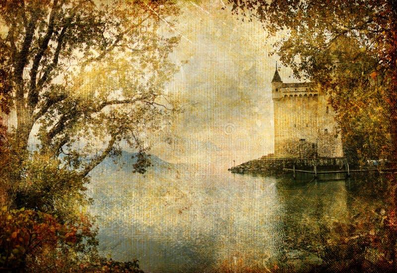 Het kasteel van de herfst royalty-vrije illustratie