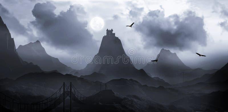 Het kasteel van de heuveltop royalty-vrije illustratie