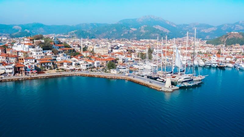 Het kasteel van de Marmarissteen en haven Middellandse Zee Turkije jpg royalty-vrije stock foto's