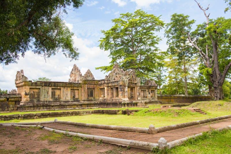 Het kasteel van de zandsteen, phanomrung in Buriram-provincie, Thailand (Achter) stock fotografie
